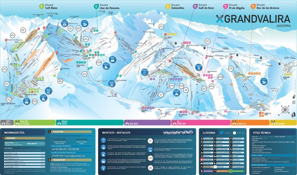 carte des pistes de ski sur le domaine d'andorre